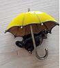 Брошь брошка значок кот кошка черная под желтым зонтом металл эмаль, фото 6