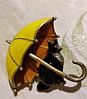 Брошь брошка значок кот кошка черная под желтым зонтом металл эмаль, фото 4