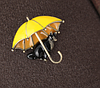 Брошь брошка значок кот кошка черная под желтым зонтом металл эмаль, фото 7