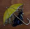 Брошь брошка значок кот кошка черная под желтым зонтом металл эмаль, фото 3