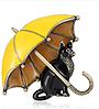 Брошь брошка значок кот кошка черная под желтым зонтом металл эмаль, фото 5