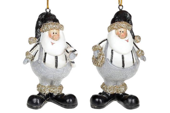 Декоративная подвесная фигурка Санта-добряк, 8см, 2 вида, цвет - белый с чёрным, в упаковке 12шт. (823-048), фото 2