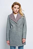 Пальто жіноче шерстяне весна-осінь Наоми сіро-розове
