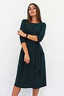 Классическое женское темно-зеленое платье-миди Tirend
