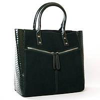 Стильная сумка женская классическая из натуральной замши 33*29*14см ALEX RAI 9-03 8713-11 green