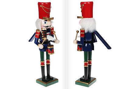 Новогодний декор Щелкунчик с барабаном, 38см, цвет - красный с синим и зелёным (NT2-110), фото 2