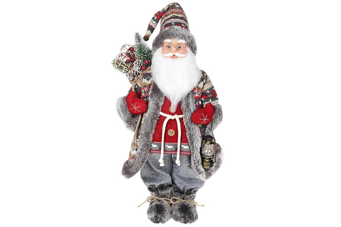 Мягкая игрушка Санта 46см, цвет - красный с серым (845-200)