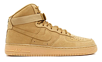 "Зимние Мужские Кроссовки на меху Nike Air Force 1 High ""Brown"" - ""Коричневые"" (Копия ААА+), фото 1"