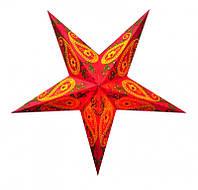 """Светильник картонный Звезда пятилучевая """"Red Wool Embd."""""""