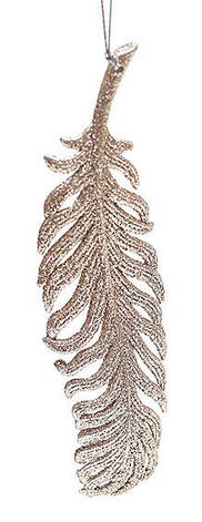 Елочное украшение Перо 19см цвет - шампань, пластик, в упаковке 45шт. (788-259), фото 2