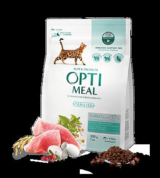 Сухой корм Optimeal Оптимил для стерелизованных котов индейка и овес, 200 гр