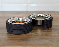 КІТ-ПЕС by smartwood Миски на подставке | Миска-кормушка металлическая для собак щенков XS - 2 миски