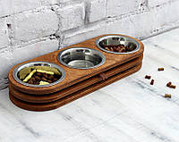 КІТ-ПЕС by smartwood Миски на подставке | Миска-кормушка металлическая для собак щенков XS - 3 миски