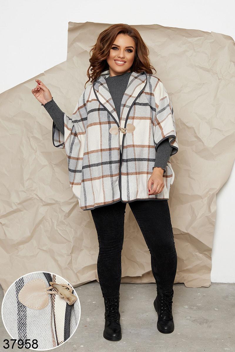 Женское кашемировое пальто-пончо в клетку р. 48-52, 54-58