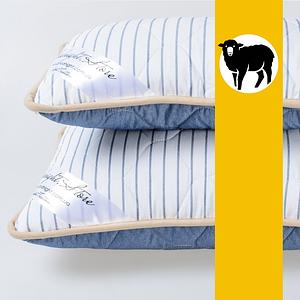 Подушка з вовни Меріносів GoodNight Store 40х60 см (колір Синій / Білий у смужку) Протиалергічна
