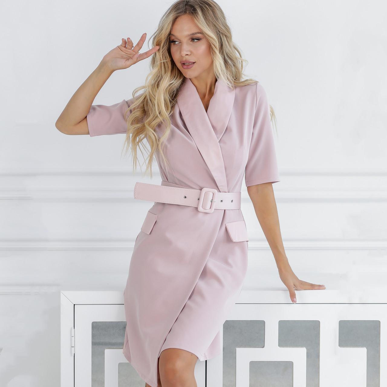 Классическое платье-пиджак с поясом