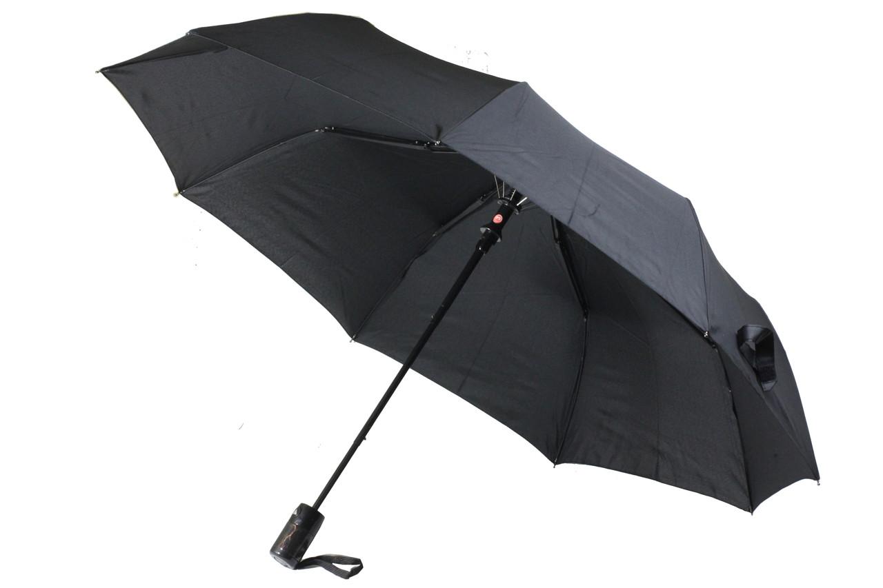 Чоловічий надійний складаний парасолька напівавтомат чорного кольору. 9 спиць антиветер від Mario Umbrellos