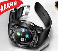 Умные смарт часы-телефон Smart Watch v8 с камерой Круглые Bluetooth часы спорт браслет с сим для взрослых