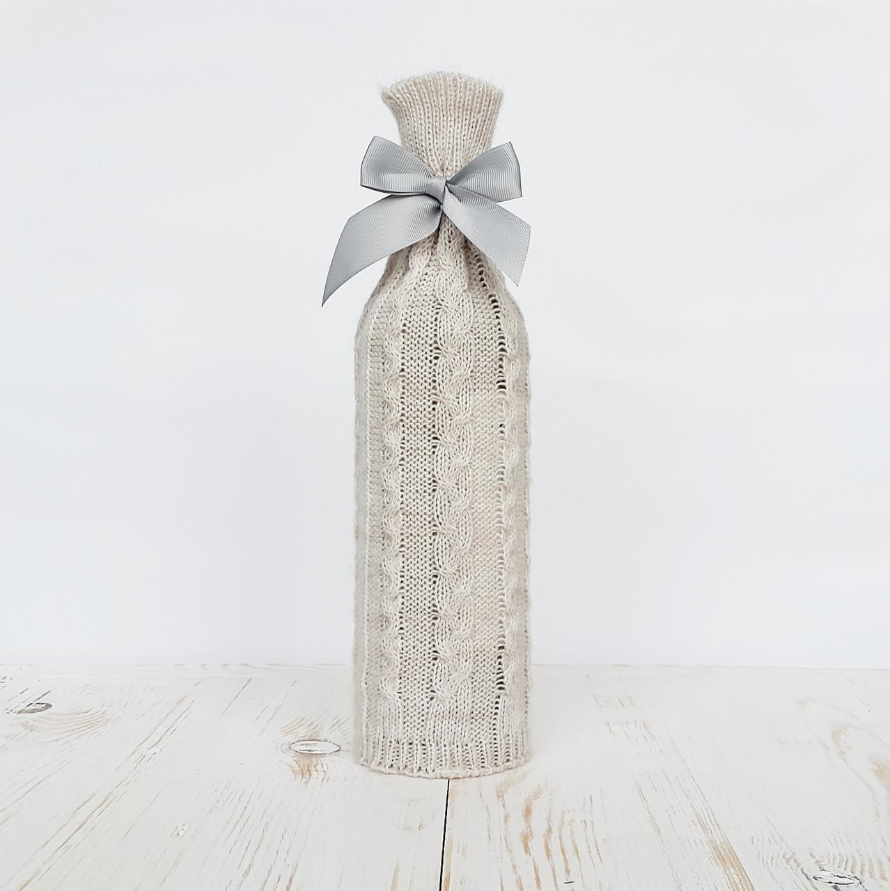 Вязаный чехол на бутылку Ohaina Linen beige