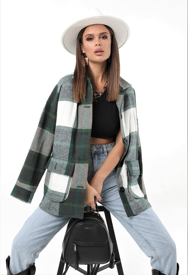 Женская рубашка в клетку с длинным рукавом байка+шерсть размер: 42-46,46-50