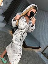 Женский теплый плюшевый халат с капюшоном LV, фото 2