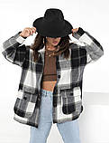 Женская рубашка в клетку с длинным рукавом байка+шерсть размер: 42-46,46-50, фото 7