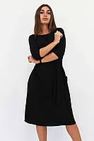 Классическое женское черное платье-миди Tirend