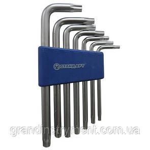 Набор ключей TORX с отверстием Г-образных 7ед.   СТАНДАРТ  TKS0701