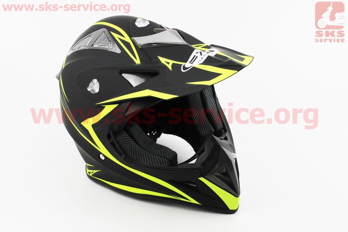 Шлем кроссовый HF-116 - ЧЕРНЫЙ матовый с зеленым рисунком Q178Y код 330806 XXL