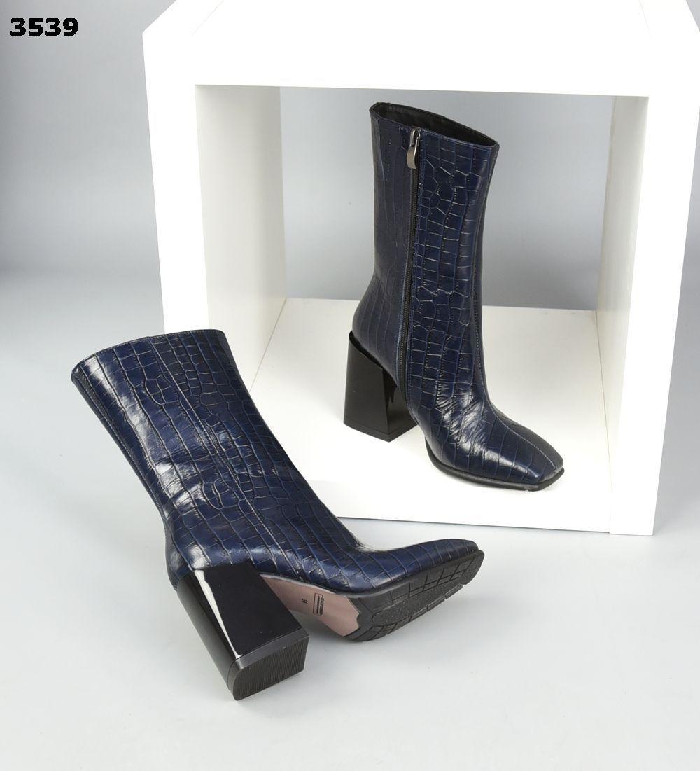 Жіночі шкіряні лакові демісезонні черевики на підборах 35-40 р темно синій