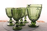 "Набор бокалы для вина с кувшином зеленые ""Винтаж"" 300 мл"