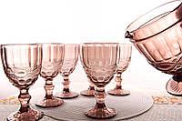 """Набор бокалов для вина с кувшином розовые """"Винтаж"""" 300 мл"""