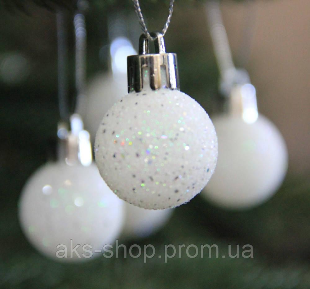 Куля новорічна біла D4 см (40мм)