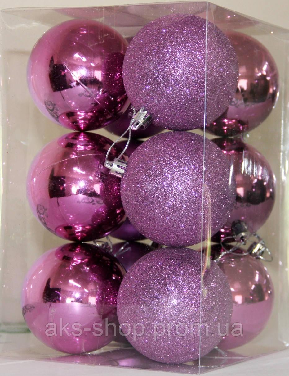 Куля новорічна фіолетова мікс D 6см (60мм)
