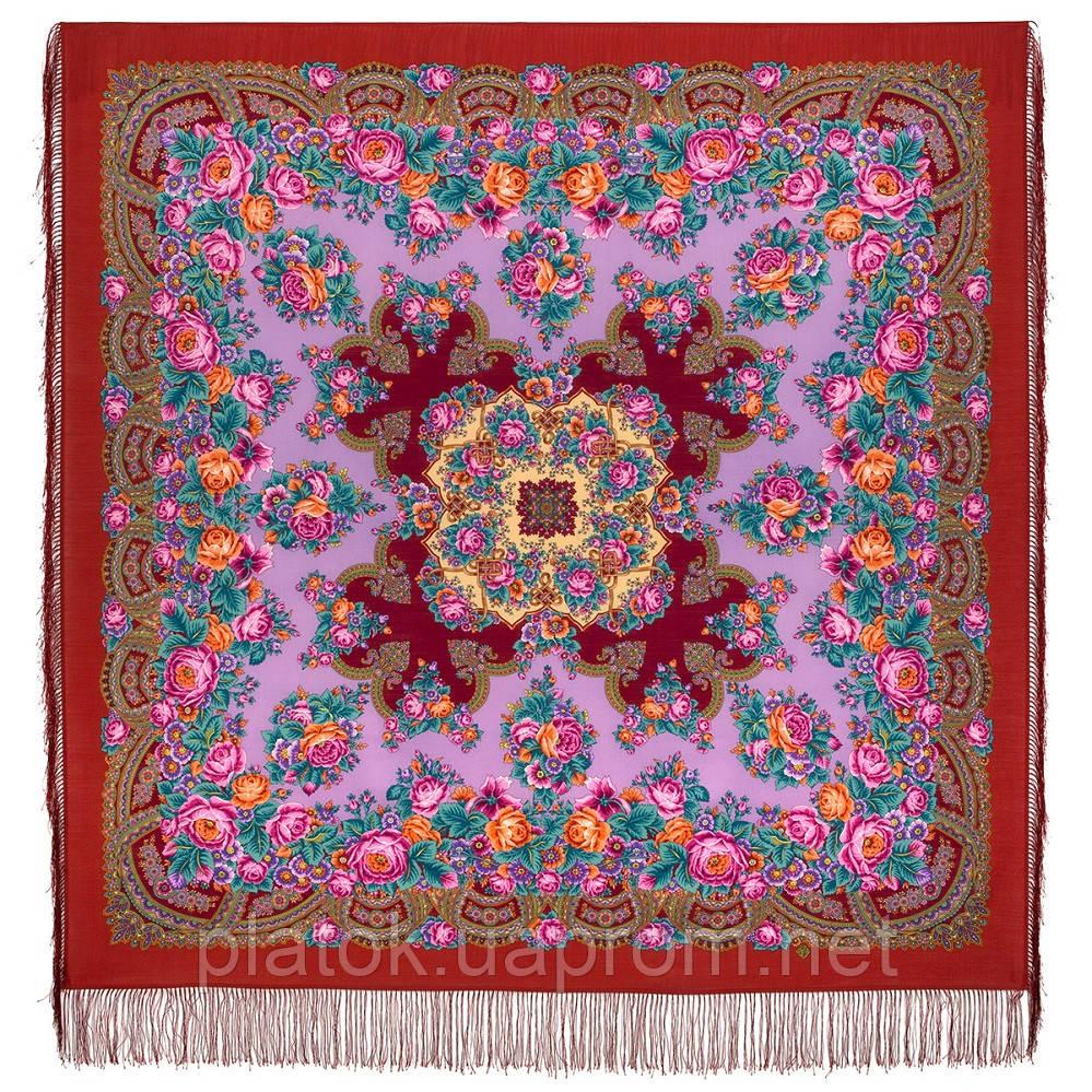 Дворянское гнездо 1910-5, павлопосадский платок шерстяной  с шелковой бахромой