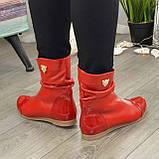 Ботинки женские демисезонные красные на низком ходу, фото 2