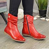 Ботинки женские демисезонные красные на низком ходу, фото 4