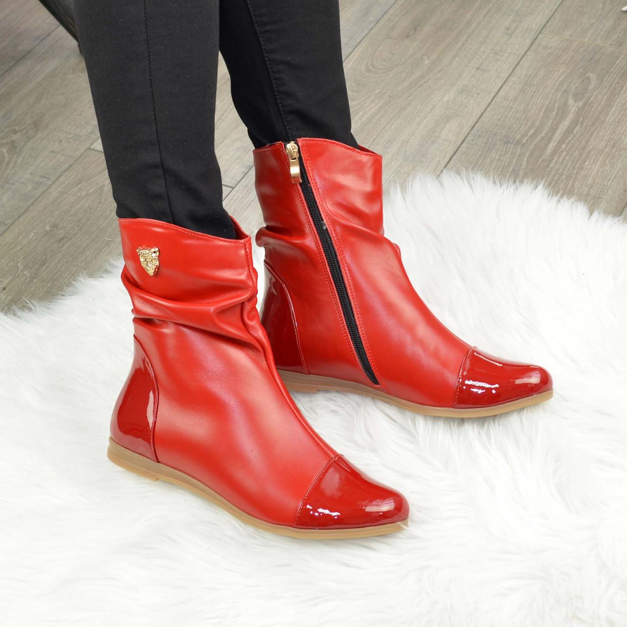 Ботинки женские демисезонные красные на низком ходу
