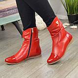 Ботинки женские демисезонные красные на низком ходу, фото 5