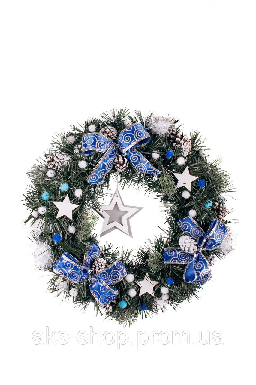 Вінок новорічний синій д40см