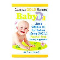 California Gold Nutrition, Витамин D3 в каплях для детей, 400 МЕ, 10 мл