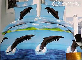 Постельное белье с дельфинами САТИН 3Д в подарочной коробке/Арт. E- RH-002 002 Дельфины
