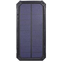 Зовнішній акумулятор Solar 20000 mAh Black Power Bank для зарядки смартфона і планшета з сонячної, КОД: 1391791