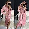 Красивый женский короткий махровый халат с капюшоном, фото 4