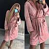 Красивый женский короткий махровый халат с капюшоном, фото 5