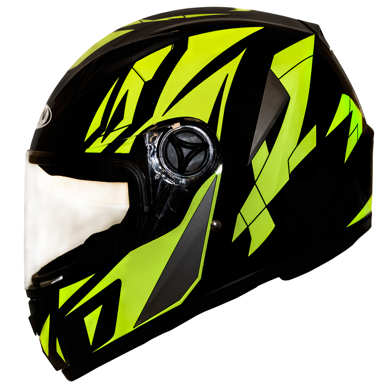 Мотошлем FXW HF-111 solid black-yellow закрытый шлем интеграл, full-face чёрно-жёлтый