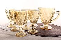"""Бокалы для вина набор с кувшином """"Зеркальный Янтарь"""" 300 мл"""