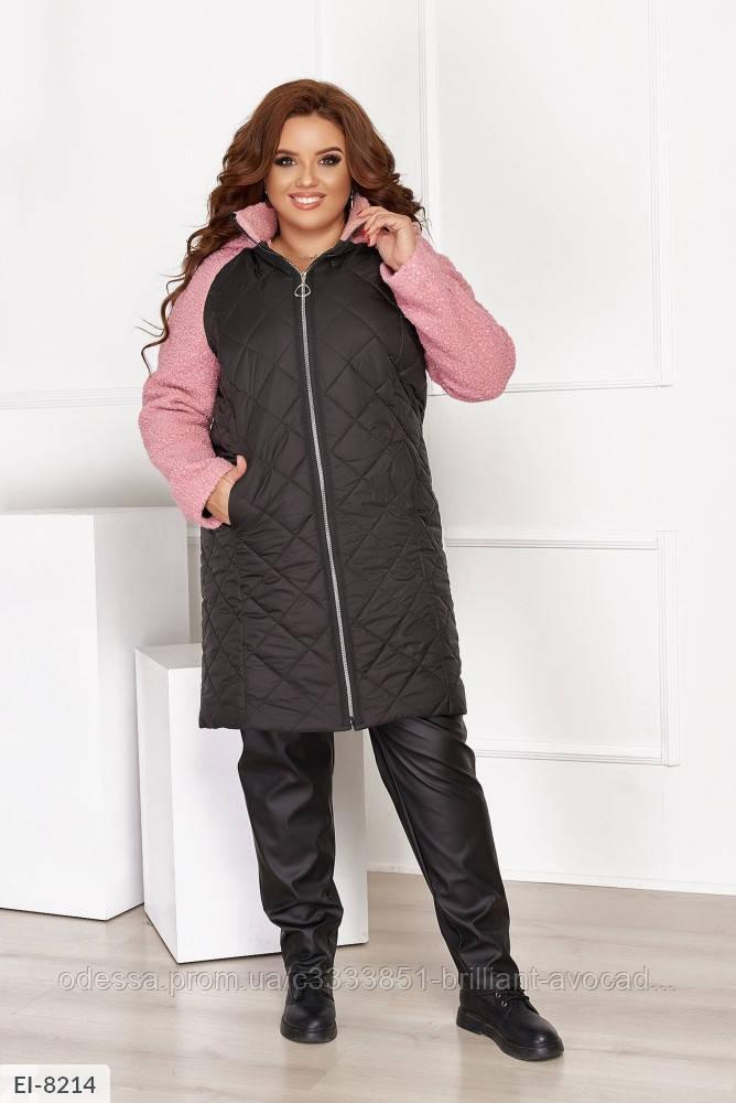 Женское пальто со вставками шерсти в больших размерах
