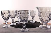 """Набор бокалов для вина с кувшином """"Зеркальный Голубой"""" 300 мл"""