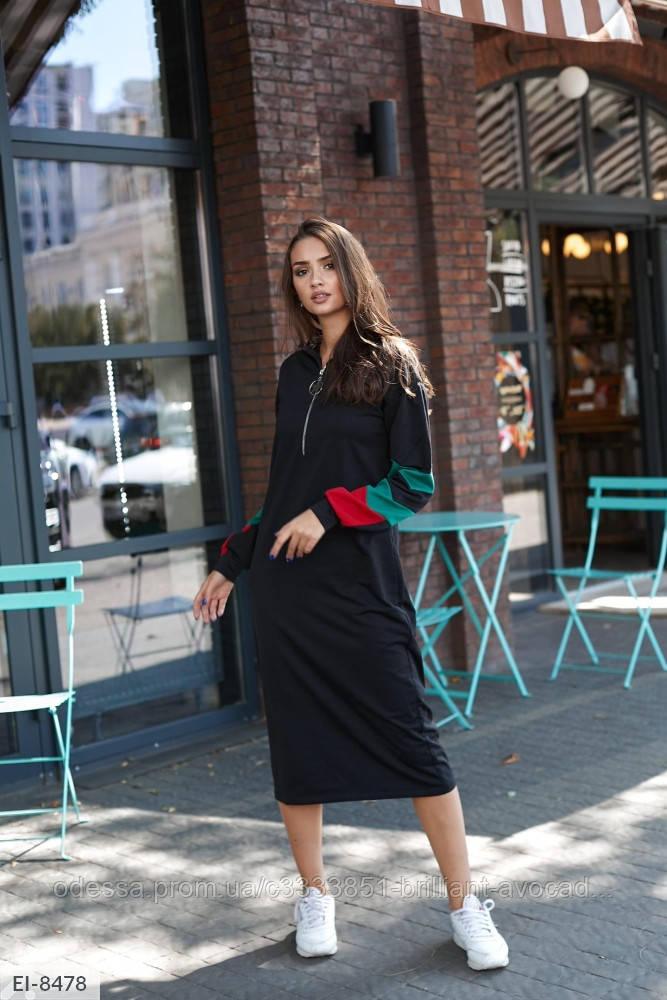 Женское стильное спортивное платье длины миди